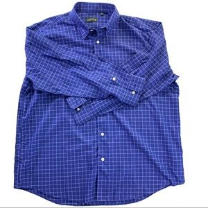 Orvis Button Down Long Sleeve Blue Checkered Shirt